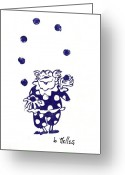 Linoleum Greeting Cards - Juggling Clown Greeting Card by Barry Nelles Art