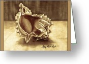 Monochrome Mixed Media Greeting Cards - Just a Shell Greeting Card by Sherry Holder Hunt