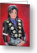 Michael Jackson Greeting Cards - King of Pop Greeting Card by Toni  Thorne