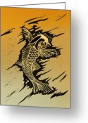 Linoleum Greeting Cards - Koi 2 Greeting Card by Jeff DOttavio