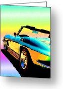 Fathers Greeting Cards - Kool Corvette Greeting Card by Lynn Andrews