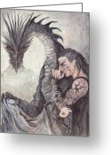 Elves Greeting Cards - Kor-Gat and Black Dragon Greeting Card by Morgan Fitzsimons