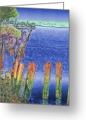 Lake Union Greeting Cards - Lakeside Pilings Greeting Card by Tim Allen