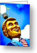 Day Greeting Cards - Light Bulb Man Greeting Card by John Gusky
