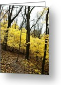 Anna Villarreal Garbis Greeting Cards - Little Yellow Trees Greeting Card by Anna Villarreal Garbis