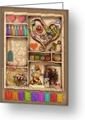 Assemblage Mixed Media Greeting Cards - Love on the Shelf Greeting Card by Ernestine Grindal