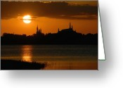 Disney Greeting Cards - Magic Kingdom Sunset Greeting Card by David Lee Thompson