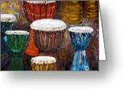 Instrumental Greeting Cards - Make a Joyful Noise Hand Drums Greeting Card by Darlene Keeffe