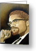 Keenya Woods Greeting Cards - Malcolm X Greeting Card by Keenya  Woods