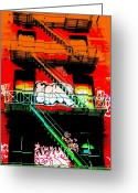 Manhattan Digital Art Greeting Cards - Manhattan Fire Escape Greeting Card by Funkpix Photo  Hunter