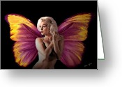 Nude Mixed Media Greeting Cards - Marilyn Monroe the Fairy Greeting Card by Tray Mead