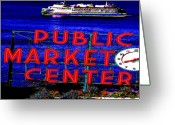 Red Bay Greeting Cards - Market Clock and Ferry  Greeting Card by Tim Allen
