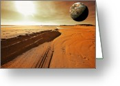 Moons Greeting Cards - Mars Greeting Card by Dapixara Art