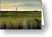 Light House Greeting Cards - Marsh Grass and Morris Island Lighthouse Greeting Card by Dustin K Ryan