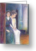 Symbolic Pastels Greeting Cards - Martha and Mary Greeting Card by Laurie Parker