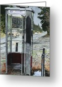 Phone Booth Greeting Cards - Mason-Dixon Phone Booth Greeting Card by Perry Woodfin