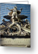 Greek Sculpture Greeting Cards - Mercury Atop Grand Central Station Greeting Card by Carl Purcell