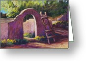 Adobe Pastels Greeting Cards - Mesilla Archway Greeting Card by Candy Mayer