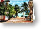 Playa Greeting Cards - Mexican Side Street Greeting Card by Gina Cormier