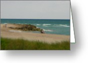 Beach Prints Greeting Cards - MIami Greeting Card by Amanda Barcon