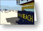Sunbathing Greeting Cards - Miami Beach work number 1 Greeting Card by David Lee Thompson