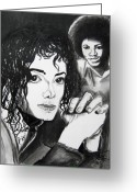 Michael Jackson Greeting Cards - Micael Jackson I Greeting Card by Toni  Thorne
