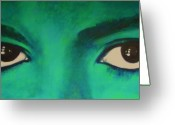 King Of Pop Greeting Cards - Michael Jackson - Eyes Greeting Card by Eric Dee