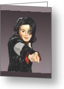 Michael Jackson Greeting Cards - Michael Jackson-Tell it like it is Greeting Card by Suzanne Cerny