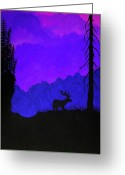 Purples Greeting Cards - Midnight Elk Greeting Card by Nick Gustafson