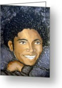 Keenya Woods Greeting Cards - Mike- king of pop Greeting Card by Keenya  Woods