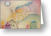 Fantasy Bird Pastels Greeting Cards - Moon Dove Greeting Card by Sally Appleby