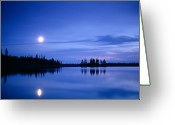 Moonrise Greeting Cards - Moon rising over Summit Lake Greeting Card by David Nunuk