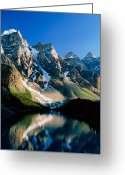 Glacier Greeting Cards - Moraine lake Greeting Card by David Nunuk
