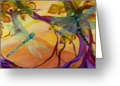 Dragonfly Greeting Cards - Morning Flight Greeting Card by Karen Dukes