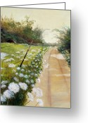 Country Dirt Roads Painting Greeting Cards - Morning Light Greeting Card by Dorothy Riley