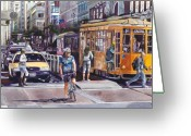San Francisco Greeting Cards - Morning on Market Street Greeting Card by Mike Hill