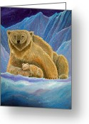 Polar Bear Greeting Cards - Mother and baby Polar bears Greeting Card by Nick Gustafson