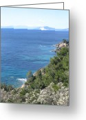 Pelion Greeting Cards - Mount Pelion from Skiathos Island Greece Greeting Card by Yvonne Ayoub
