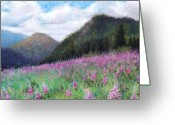 Blue Flowers Pastels Greeting Cards - Mountain Meadow Greeting Card by Susan Jenkins