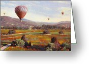 Contry Greeting Cards - Napa Balloon Autumn Ride Greeting Card by Takayuki Harada