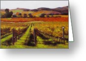 Contry Greeting Cards - Napa Carneros Vineyard Autumn Color Greeting Card by Takayuki Harada