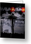 Seattle Greeting Cards - Needle in Flux Greeting Card by Tim Allen