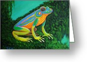 Neon Art Greeting Cards - Neon Frog Greeting Card by Nick Gustafson