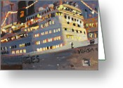 Boat Greeting Cards - Night Cruise Greeting Card by Brian Simons