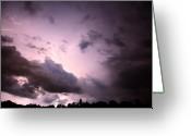 "\""lightning Strike\\\"" Greeting Cards - Night storm Greeting Card by Amanda Barcon"