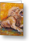 Lions Painting Greeting Cards - No Respect Greeting Card by Leisa Temple