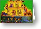 Noahs Ark Painting Greeting Cards - Noahs Ark From My Point Greeting Card by Deborah MacQuarrie