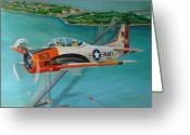 Airplane Greeting Cards - North American T-28 Trainer Greeting Card by Stuart Swartz