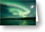 Lakes Greeting Cards - Northern lights Greeting Card by David Nunuk