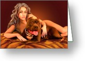 Pit Bull Greeting Cards - Nude Girl with Dog by Spano Greeting Card by Michael Spano